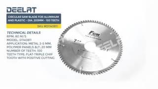 Circular Saw Blade For Aluminum and Plastic - Dia. 200mm - 100 Teeth