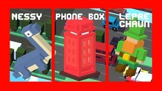 Crossy Road ALL NEW 3 SECRET CHARACTERS UNLOCK! | UK Update: Nessy, Phone Box, Leprechaun