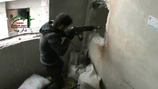 preview picture of video 'داريا - تحدي مجاهدي كتيبة سعد بن أبي وقاص لعصابات الأسد في المدينة 14-4-2013'