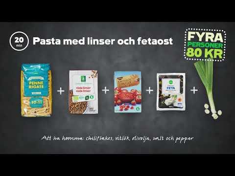 Pasta med linser och fetaost | 4 personer 80 kr