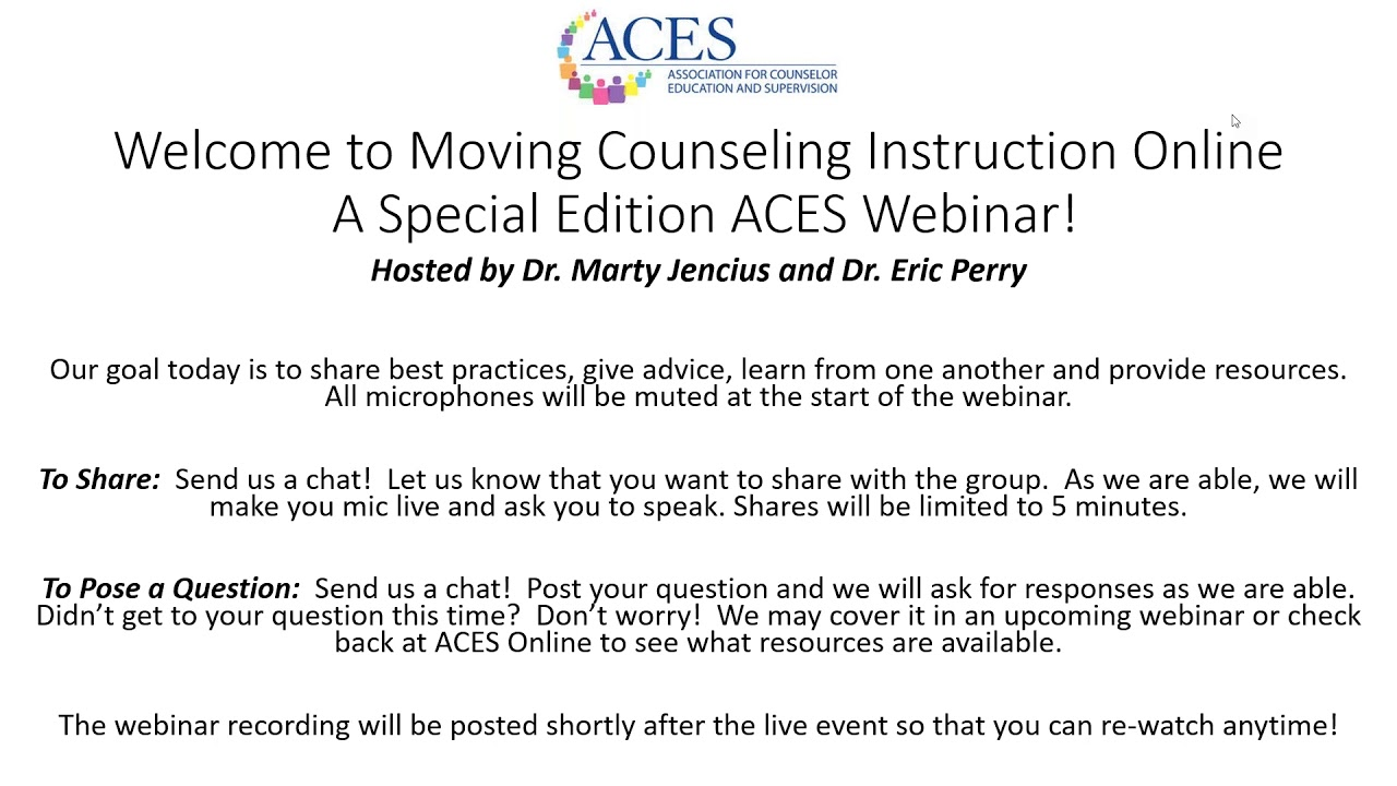 Moving Counseling Instruction Online - 2 of 4