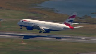Sky 5 Captures British Airways A380 Landing At Boston Logan Airport