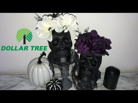 Halloween Dollar Tree Diy Skull Vase And Stands Live A Young