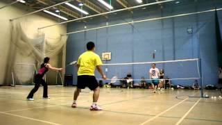 preview picture of video 'Filipino (Kent) Badminton Club - Match between Otto + Jen v Jojo + Elaine'