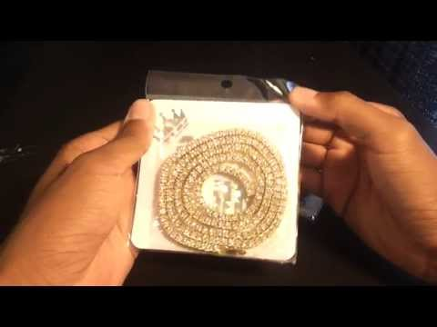 36in 14K Gold/Black Iced Out HipHop Bling Necklace [Review]