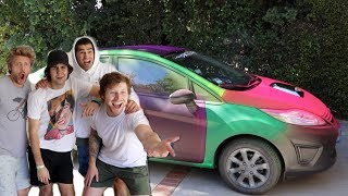 SPRAYPAINTING HIS CAR RAINBOW!!