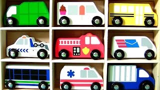 Wooden Cars Set Baby Toys Ambulance, Fire Truck, School Bus, Police Car, Ice Cream Truck, Tow Truck