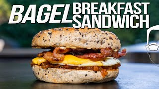 BAGEL BREAKFAST SANDWICH (W/ HOMEMADE BACON JAM) | SAM THE COOKING GUY 4K