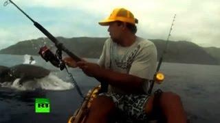 Смотреть онлайн Человек борется с акулой за улов