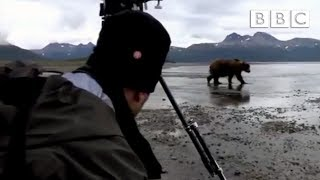 Camera crew come perilously close to a Grizzly | Great Bear Stakeout - BBC