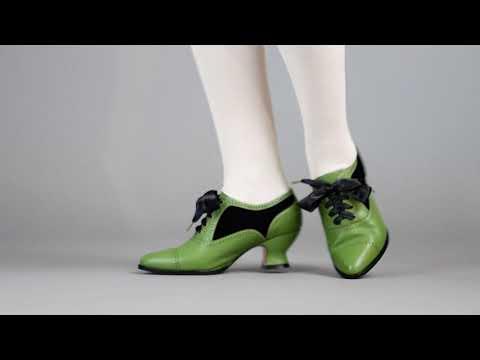 PRE-ORDER Lucille Women's Edwardian Oxfords (Green/Black)