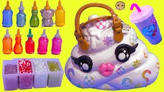 Giant Surprise Pooey Puitton Craft Bag Kit ! DIY Make Glitter + Crunchy Slime