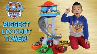 BIGGEST Paw Patrol Lookout Tower! Toy Unboxing With Chase Marshall Skye Rocky Rubble Zuma Ckn Toys