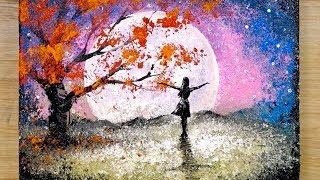 Техника рисования алюминием / Как нарисовать девушку, смотрящую на полную луну