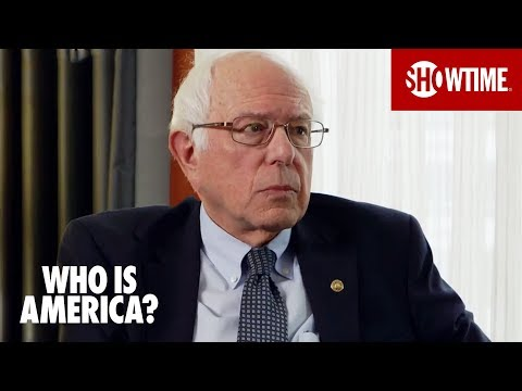 Bernie Sanders chatting with Sacha Baron Cohen in Who Is America...keeping his cool
