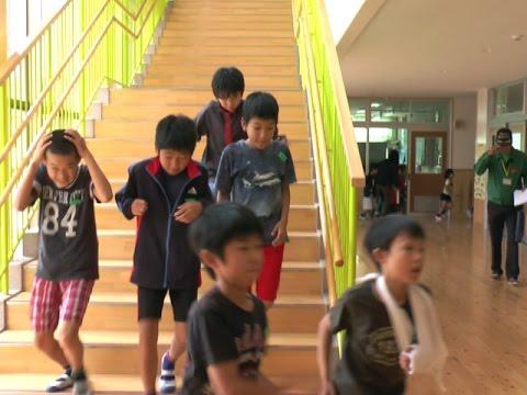 阿市立一の宮小学校・一の宮中学校合同の地震避難訓練