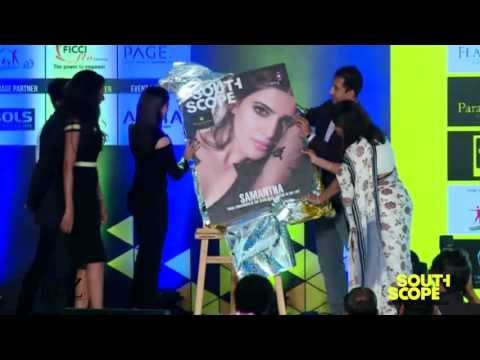 Samantha unveils the cover of SouthScope's October edition at the SouthScope Lifestyle Awards