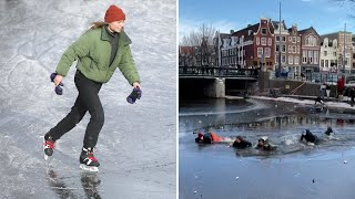 video: Skating on thin ice: Thawing canals in Amsterdam trigger safety warning