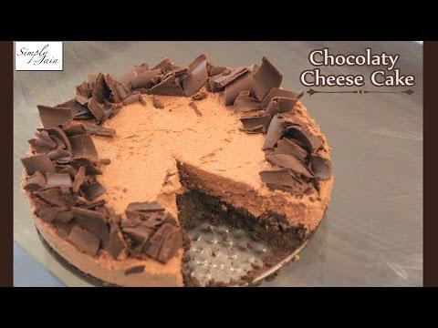 Video Chocolate Cheese Cake   How To Make No Bake Chocolate Cheese Cake   New Year Special   Simply Jain
