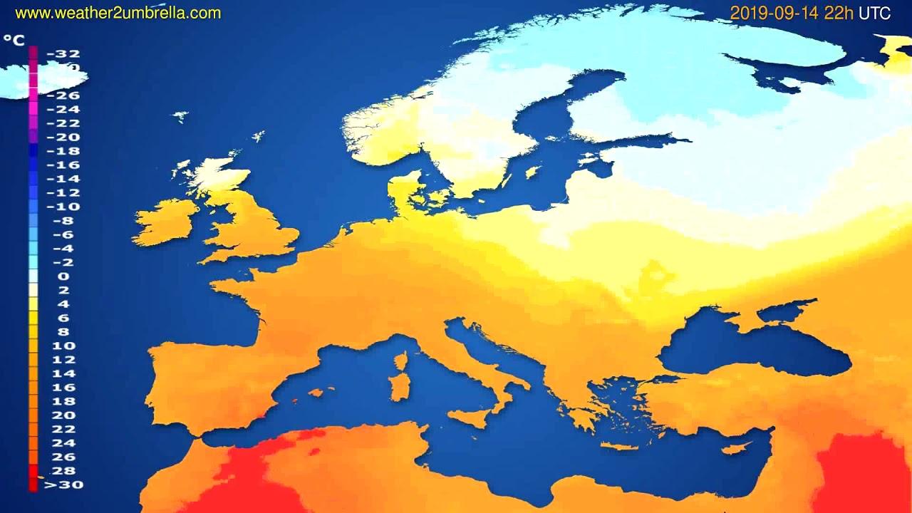 Temperature forecast Europe // modelrun: 00h UTC 2019-09-12