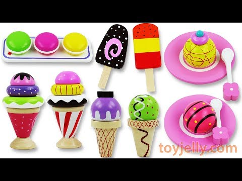 Ice Cream Cone Popsicle Macaroon Playset Toys Cutting Fruits and Learn Colors with Gumballs