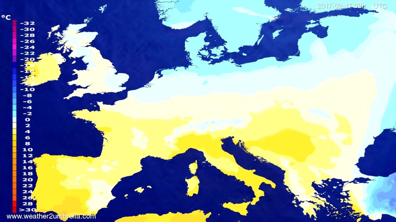 Temperature forecast Europe 2017-02-13