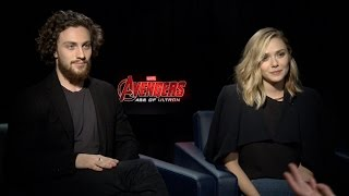Элизабет Олсен, Aaron Taylor-Johnson & Elizabeth Olsen on Marvel's Avengers: Age of Ultron