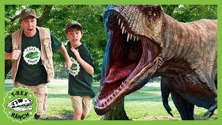 Giant Dinosaur Park Adventure! Escape Room Pretend Play with Mystery Eggs & T-Rex Dinosaurs for Kids