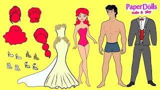 PAPER DOLL WEDDING DRESS FOR MERMAID PAPERCRAFT HANDMADE DOLLS BRIDE & GROOM Paper Dolls