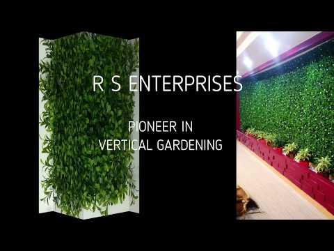 Green Plastic Artificial Vertical Outdoor Wall Garden