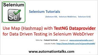 Selenium Video - Hashmap with TestNG Dataprovider for Data Driven Testing in Selenium WebDriver