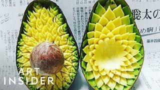 Delicate Patterns Carefully Carved Into Fruits And Vegetables