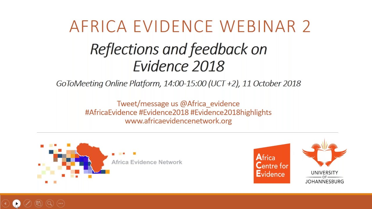 Africa Evidence Webinar #2: Reflections and feedback on Evidence 2018