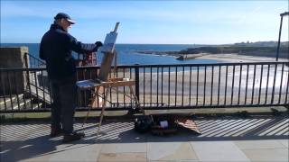 preview picture of video 'Cullercoats Beach Artist Peter Flanagan Paints Cullercoats Harbour Whitley Bay'