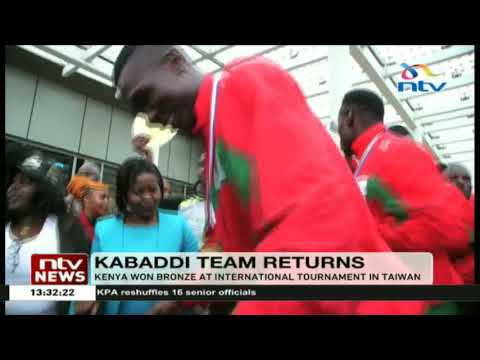 Kabaddi team that won bronze at the International Kabaddi, Taiwan return home
