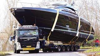 Slippery Yacht Loading / Heavy Haulage to the Pontoon | Boot 2019