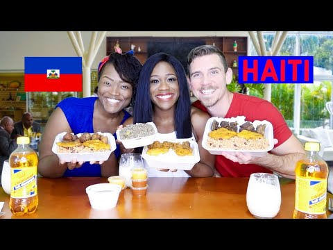 American Couple Tries HAITIAN FOOD For The FIRST TIME | Legumes, Griot, Kremas, Tassot Cabrit