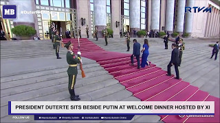 President Duterte sits beside Putin at welcome dinner hosted by Xi