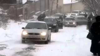 Winter Almaty Kazakhstan car crash