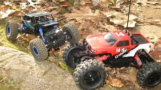 Maisto rc rock crawler and hugine 2 4ghz rock crawler at the offroad trail