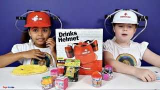 Soda Challenge! Drinks Helmet Guessing Game - Shopkins - Gummy Candy - Surprise Eggs