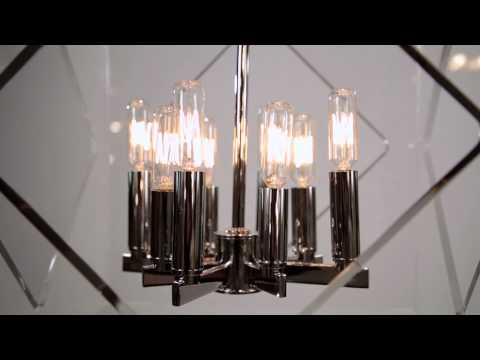 Video for Travis Aged Brass Eight-Light 20-Inch Wide Pendant with Clear Acrylic Shade