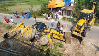 JCB Backhoe Got Accident - Recovery by Another JCB - JCB Machine Video @RoadPlanet