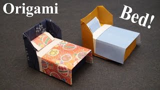 How To Make A Doll House Bed With Bedding Origami (Paper Craft) - SunderOrigami!