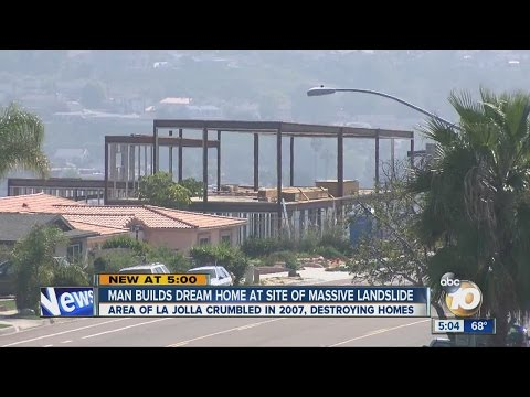 Man building dream home at site of landslide