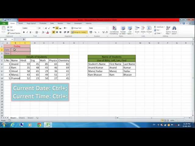 How to add an automatic date on excel sheet 2010?