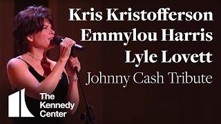 "Video thumbnail of ""Kris Kristofferson, Lyle Lovett, Emmylou Harris (Johnny Cash Tribute) - 1996 Kennedy Center Honors"""