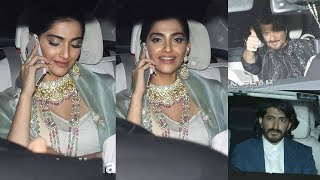 Gorgeous Sonam Kapoor Wid Dad Anil Kapoor & Brother Harshwardhan Kapoor @Relative's HALDI Ceremony