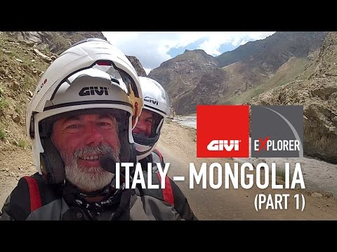 By motorcycle on dirt and impassable roads, from Italy to Central Asia, to Mongolia and back, through Russia and Siberia.
