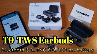 T9 TWS Earbuds -100 hrs. of battery, Bluetooth 5.0, and CVC 6.0 Noise Isolation